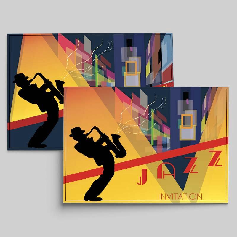 carton d'invitation de soirée de jazz créé par Frédérique Hayaux du Tilly, graphiste designer de c com'créa