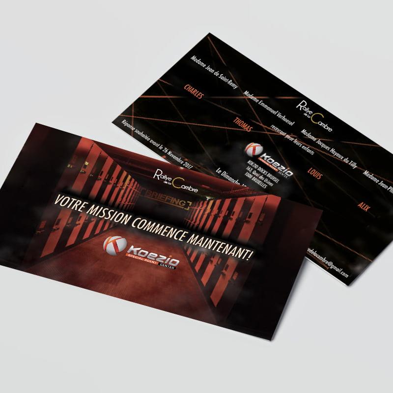 Carton d'invitation de Koezio créé par Frédérique Hayaux du Tilly, graphiste designer de c com'créa