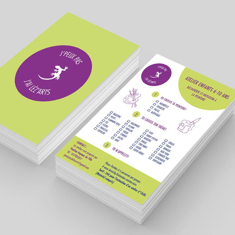 Leaflet J'peux pas J'ai Léz'arts créé par Frédérique Hayaux du Tilly, graphiste designer de c com'créa