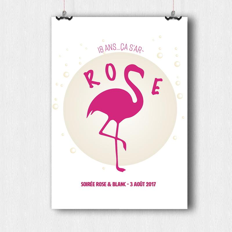 Panneau déclinaison du logo Flamand Rose 18 ans créé par Frédérique Hayaux du Tilly, graphiste designer de c com'créa