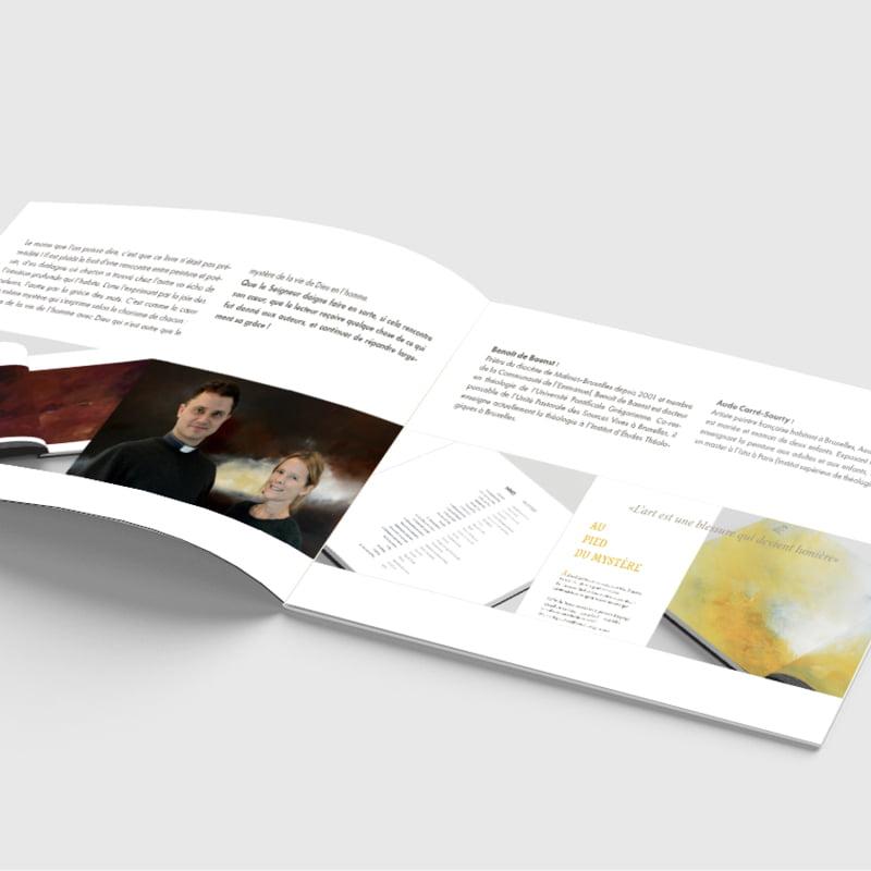 Page ouverte du bon de commande du livre Au coeur du Mystère créé par Frédérique Hayaux du Tilly, graphiste designer de c com'créa