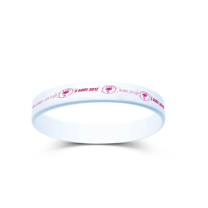 Bracelet, déclinaison du logo Flamand Rose 18 ans créé par Frédérique Hayaux du Tilly, graphiste designer de c com'créa