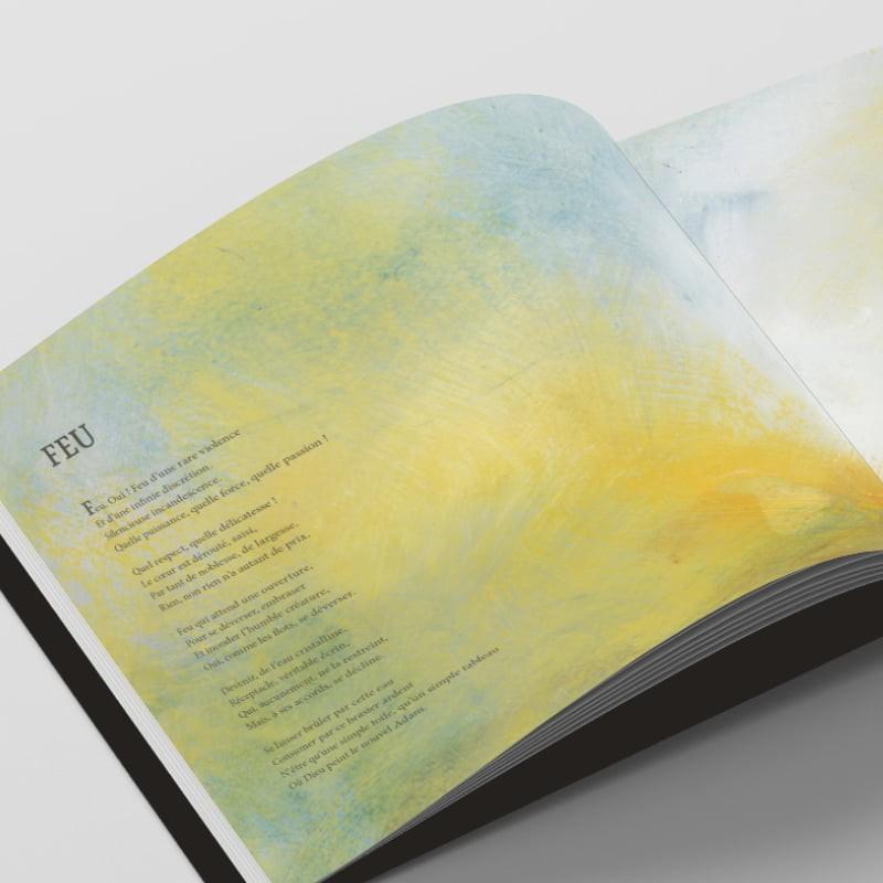 Page poème Feu du livre Au coeur du Mystère créé par Frédérique Hayaux du Tilly, graphiste designer de c com'créa