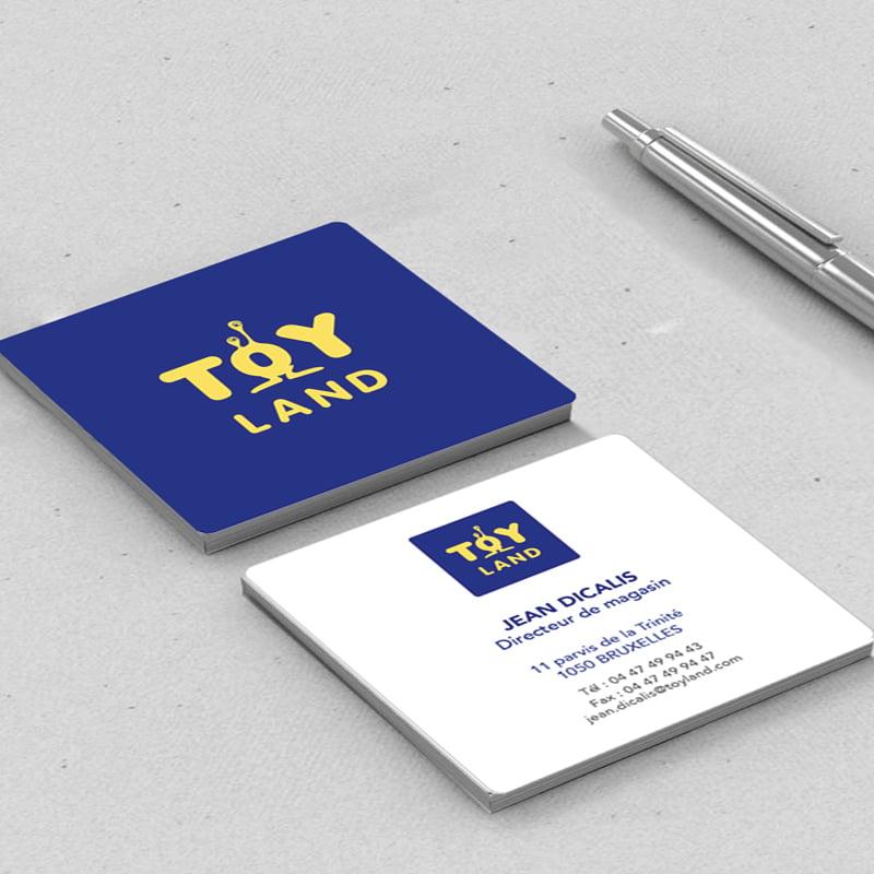 cartes de visites avec le logo Toyland, création de Frédérique Hayaux du Tilly, graphiste designer de c com'créa