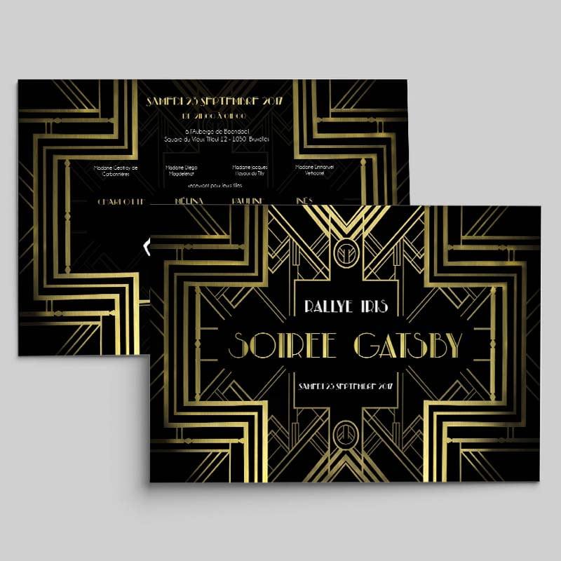 Carton d'invitation de soirée Gatsby créé par Frédérique Hayaux du Tilly, graphiste designer de c com'créa
