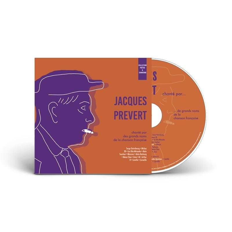 Pochette CD avec CD de Jacques Prévert, création de Frédérique Hayaux du Tilly, graphiste designer de c com'créa