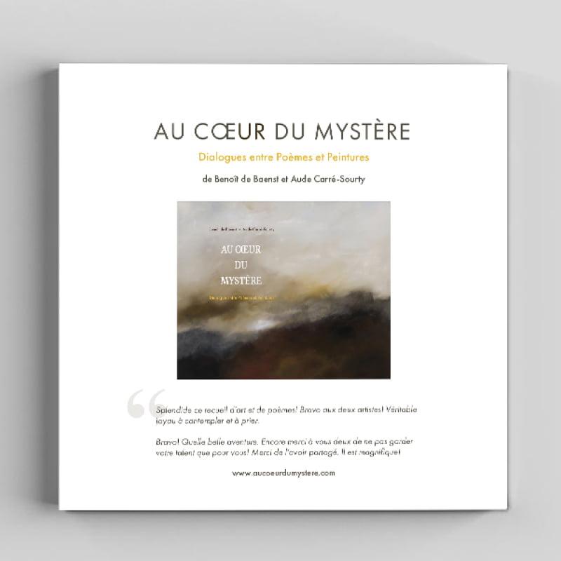 Dossier de presse du livre Au coeur du Mystère créé par Frédérique Hayaux du Tilly, graphiste designer de c com'créa