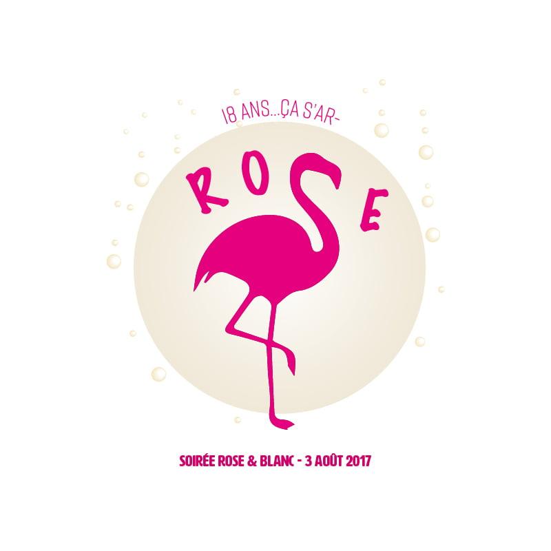 Logo Flamand Rose 18 ans créé par Frédérique Hayaux du Tilly, graphiste designer c com'créa