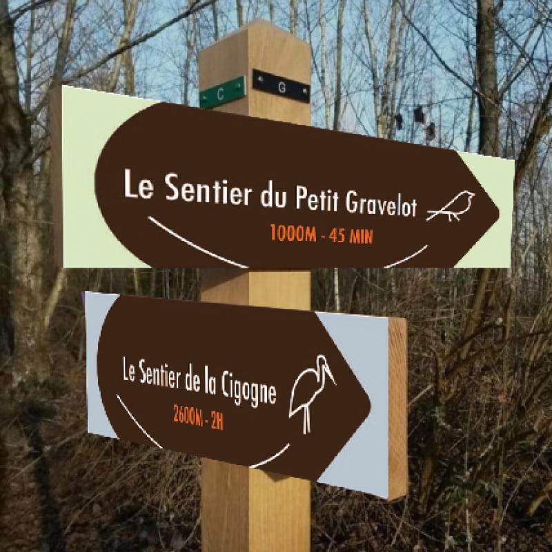Panneaux Sentier issus de parc ornithologique du Teich, création de Frédérique Hayaux du Tilly, graphiste designer de c com'créa
