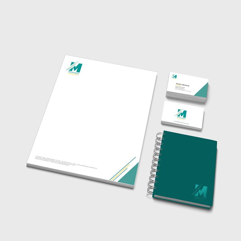Identité visuelle de la Médiathèque de Montreuil, création de Frédérique Hayaux du Tilly, graphiste designer de c com'créa