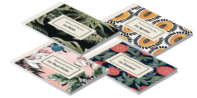 4 livrets issus du coffret Essences Absolues, création de Frédérique Hayaux du Tilly, graphiste designer c com'créa