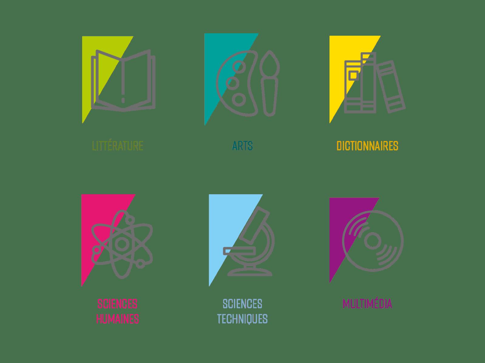 exemples de pictos de la Médiathèque de Montreuil, création de Frédérique Hayaux du Tilly, graphiste designer c com'créa