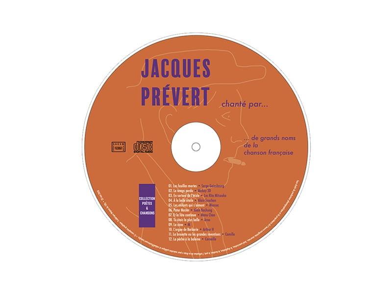rondelle de CD de Jacques Prévert, création de Frédérique Hayaux du Tilly, graphiste designer c com'créa