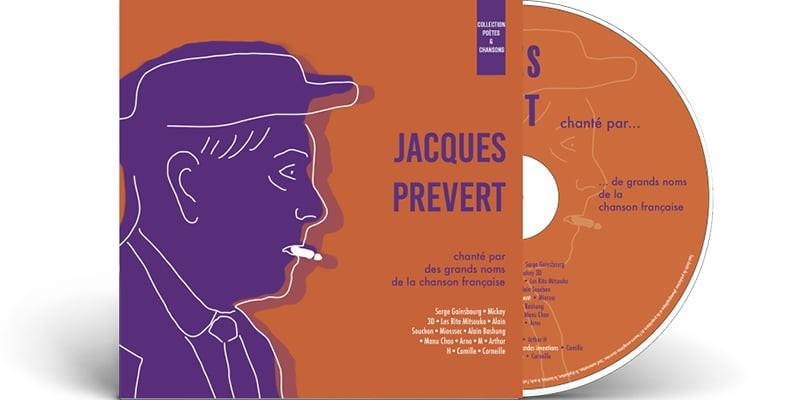 Pochette CD avec CD de Jacques Prévert, création de Frédérique Hayaux du Tilly, graphiste designer c com'créa
