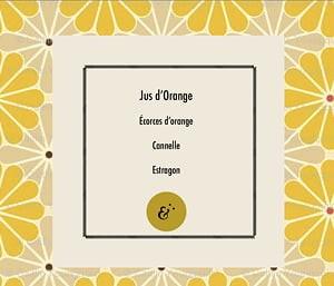 Page parfum Jus d'Orange, extrait du coffret Essences Absolues, création de Frédérique Hayaux du Tilly, graphiste designer c com'créa