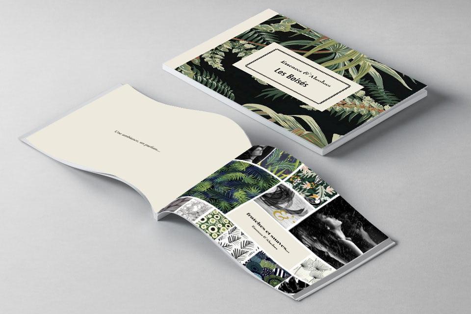 Le livret Les Boisés, issu du coffret Essences Absolues, création de Frédérique Hayaux du Tilly, graphiste designer c com'créa
