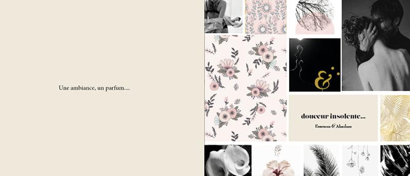 Page ambiance Les Fleuris, issue du coffret Essences Absolues, création de Frédérique Hayaux du Tilly, graphiste designer c com'créa
