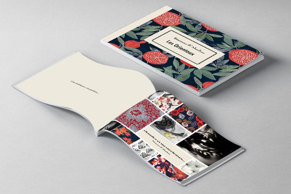 Le livret Les Orientaux, issu du coffret Essences Absolues, création de Frédérique Hayaux du Tilly, graphiste designer c com'créa