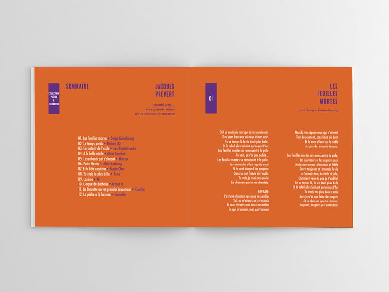 intérieur du livret du CD de Jacques Prévert, création de Frédérique Hayaux du Tilly, graphiste designer c com'créa