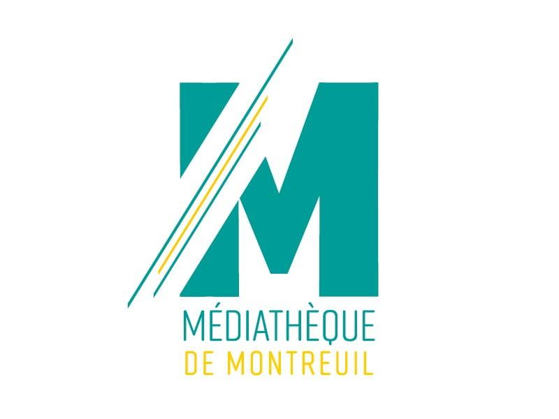 logo de la médiathèque de Montreuil, création de Frédérique Hayaux du Tilly, graphiste designer c com'créa