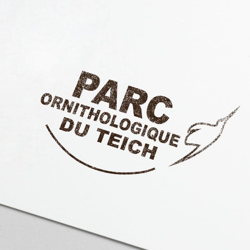 Logo Parc ornithologique du Teich, création de Frédérique Hayaux du Tilly, graphiste designer c com'créa