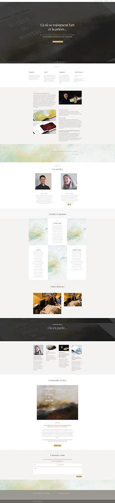 Page d'accueil du site Au coeur du Mystère créé par Frédérique Hayaux du Tilly, graphiste webdesigner c com'créa