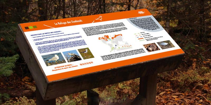 Panneau Refuge des Goëlands issu de parc ornithologique du Teich, création de Frédérique Hayaux du Tilly, graphiste designer c com'créa