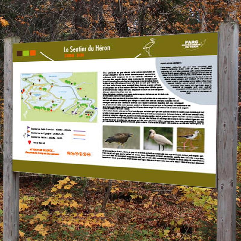 Panneau Sentier du Héron issu de parc ornithologique du Teich, création de Frédérique Hayaux du Tilly, graphiste designer c com'créa