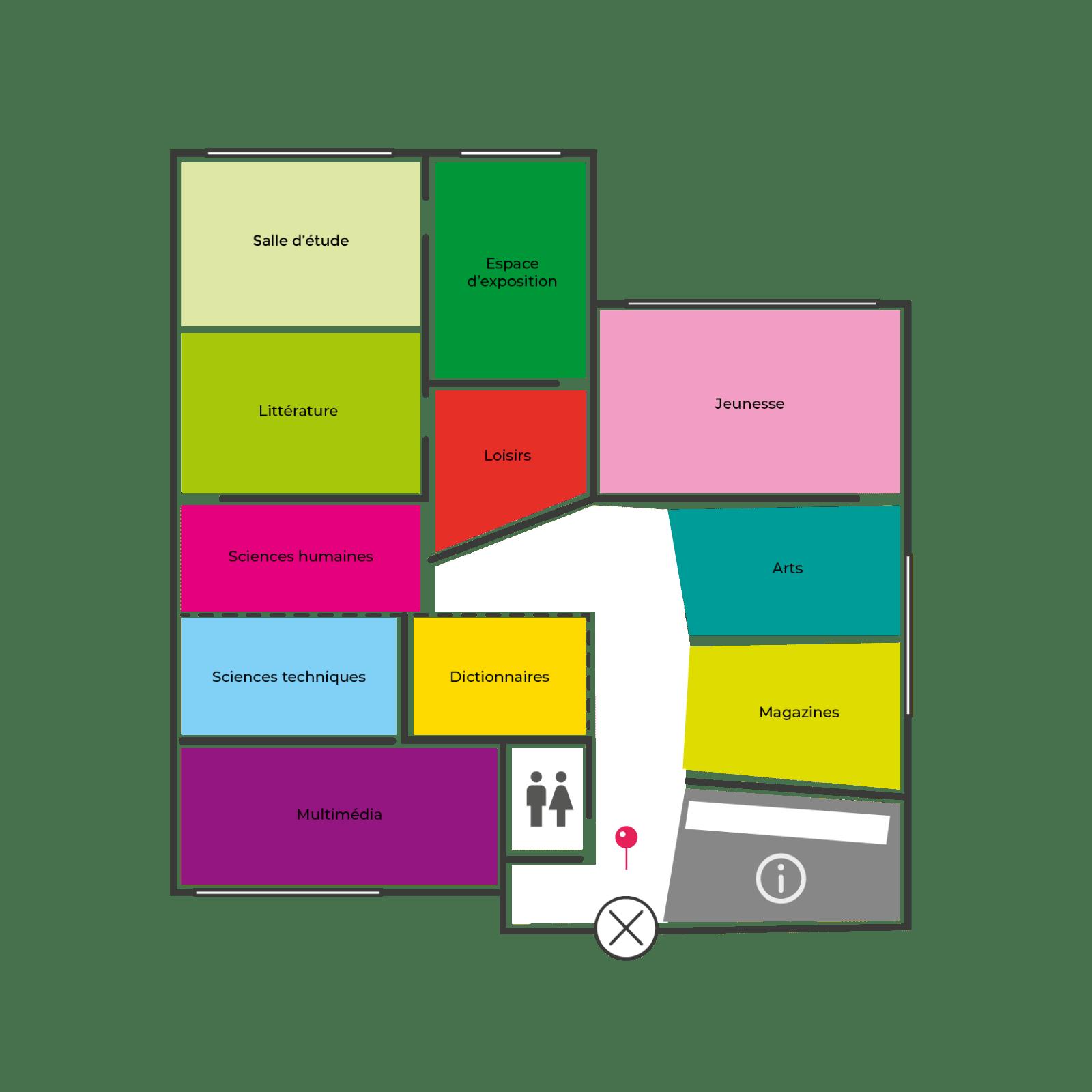 Plan de la médiathèque de Montreuil, création de Frédérique Hayaux du Tilly, graphiste designer c com'créa