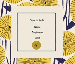 Page parfum Sieste au Jardin, extrait du coffret Essences Absolues, création de Frédérique Hayaux du Tilly, graphiste designer c com'créa