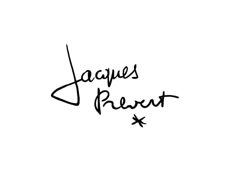 signature Jacques Prévert, sur la pochette de CD, création de Frédérique Hayaux du Tilly, graphiste designer c com'créa