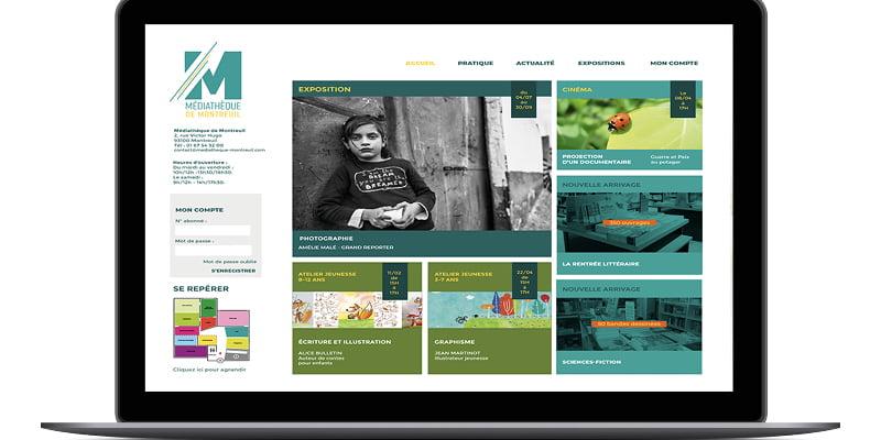 Écran de la page d'accueil du site internet de la Médiathèque de Montreuil, création de Frédérique Hayaux du Tilly, graphiste webdesigner c com'créa