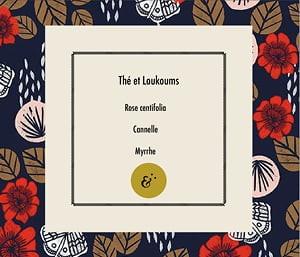 Page parfum Thé et Loukoums, extrait du coffret Essences Absolues, création de Frédérique Hayaux du Tilly, graphiste designer c com'créa