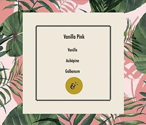 Page parfum Vanilla Pink, extrait du coffret Essences Absolues, création de Frédérique Hayaux du Tilly, graphiste designer c com'créa