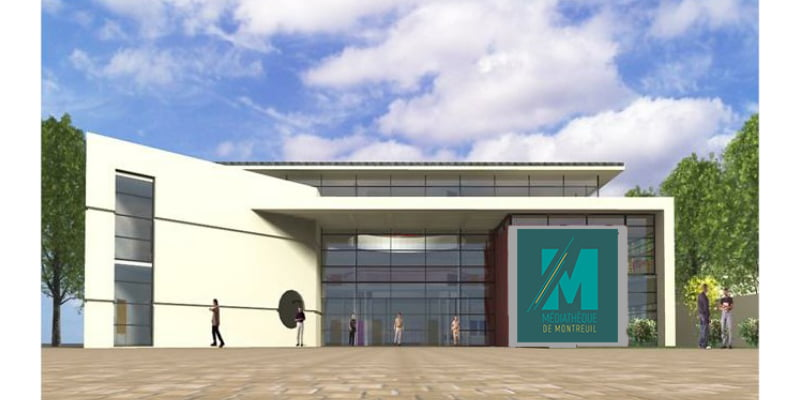 Mise en situation du logo de la Médiathèque de Montreuil, création de Frédérique Hayaux du Tilly, graphiste designer c com'créa