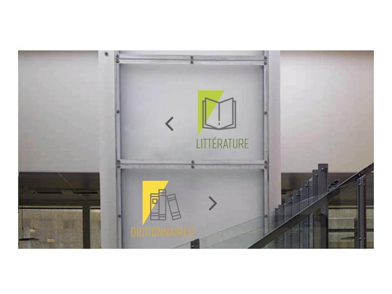 Mise en situation des pictos de la Médiathèque de Montreuil, création de Frédérique Hayaux du Tilly, graphiste designer c com'créa