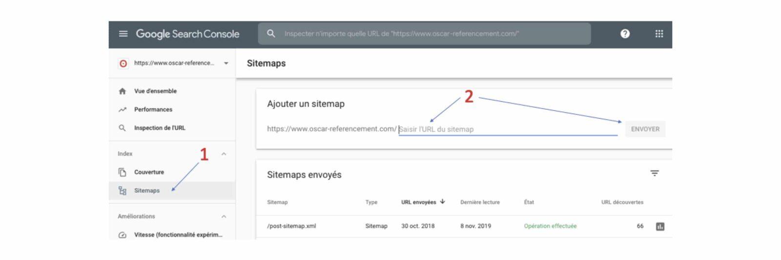 envoyer un sitemap via la Google Search Console pour optimiser le SEO référencement de son site par c com'créa