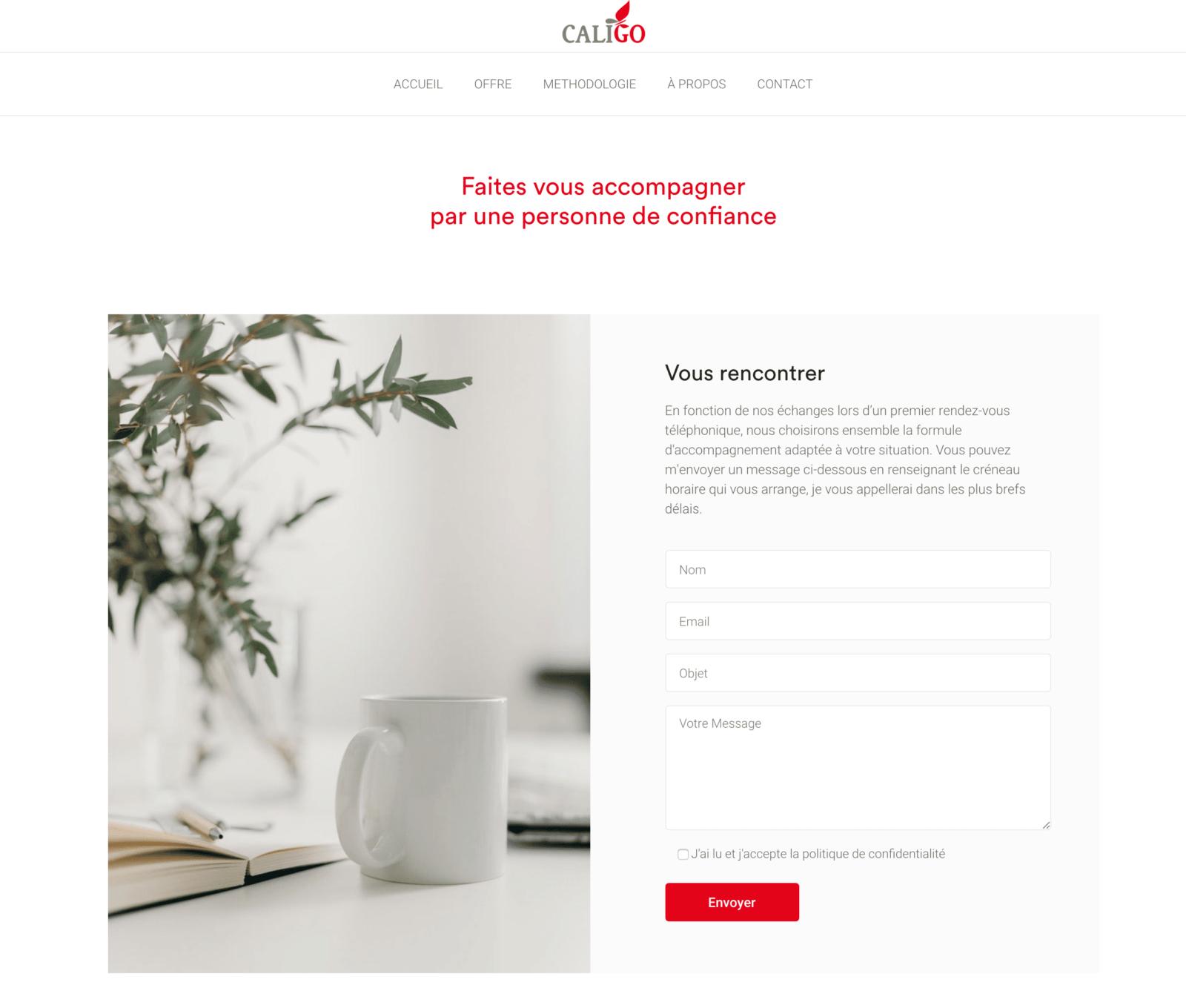 page contact de Caligo Conseil, client de C Com'Créa