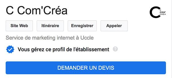 Activer la fonction demander un devis dans Google My Business de C Com'Créa