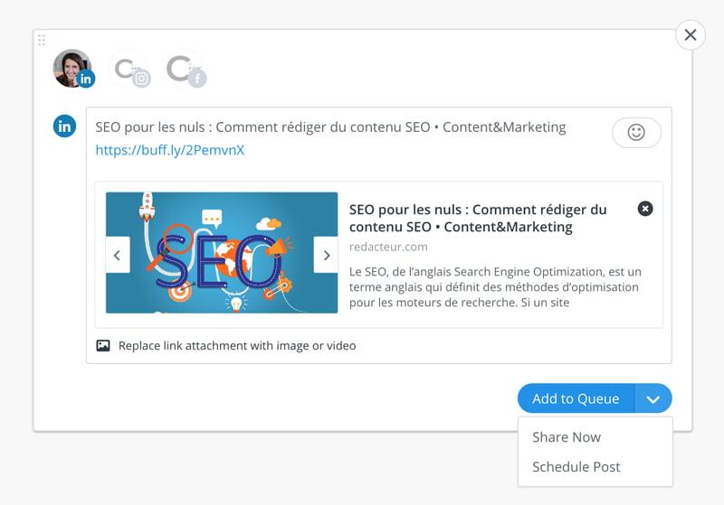 Comment partager un post avec l'extension Buffer, un outil de la web box de C Com'Créa
