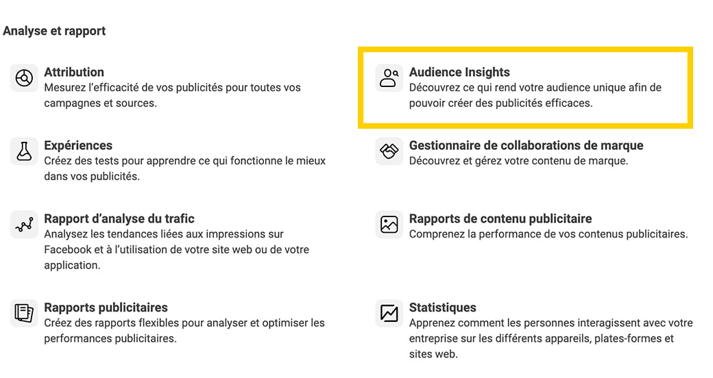 Comment accéder à Facebook Audience Insights?