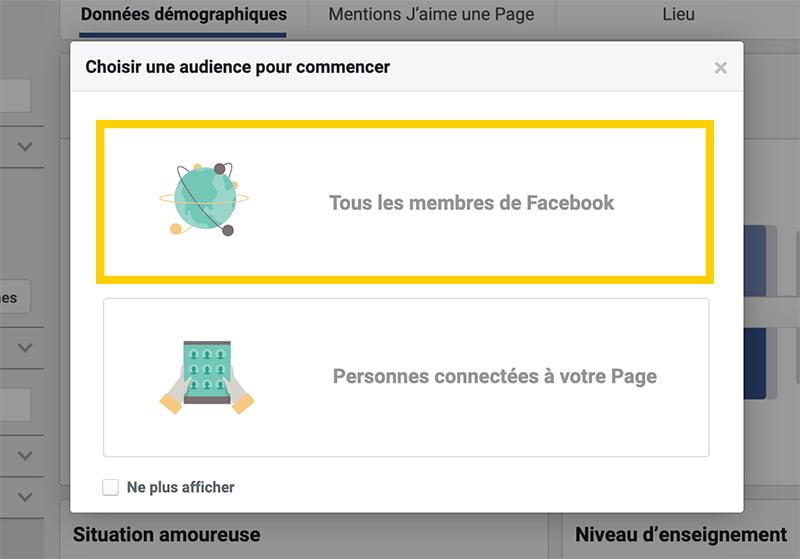 Choisir tous les utilisateurs de Facebook dans Audience Insights
