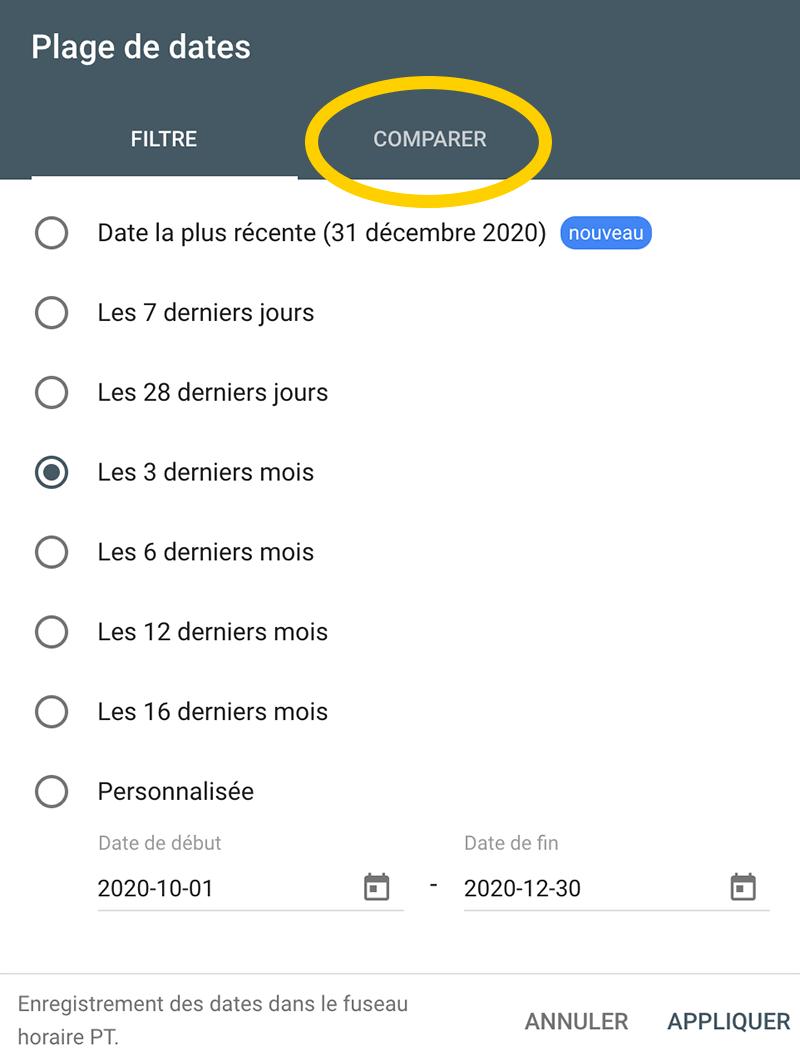 Comment comparer deux périodes en terme de performance dans Google Search Console