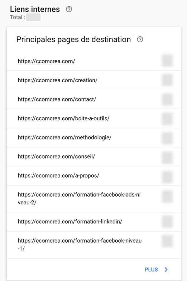 Le rapport détaillé des liens internes dans Google Search Console