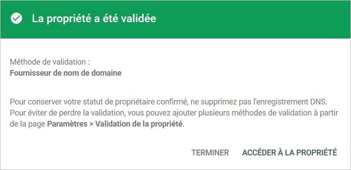 validation de propriété pour l'inscription de son site à Google Search Console