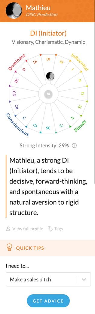 exemple de l'analyse de personnalité de Mathieu avec l'application Crystal Knows partie 1