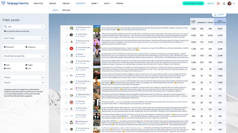 Fanpage Karma, outil de la Web Box pour trouver du contenu à partager