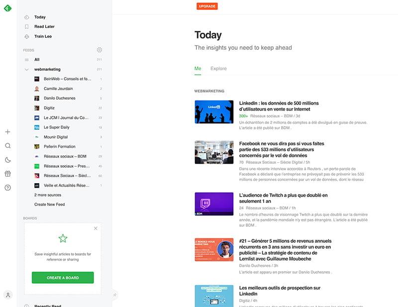 feedly, un agrégateur de contenu pour trouver des contenus à partager