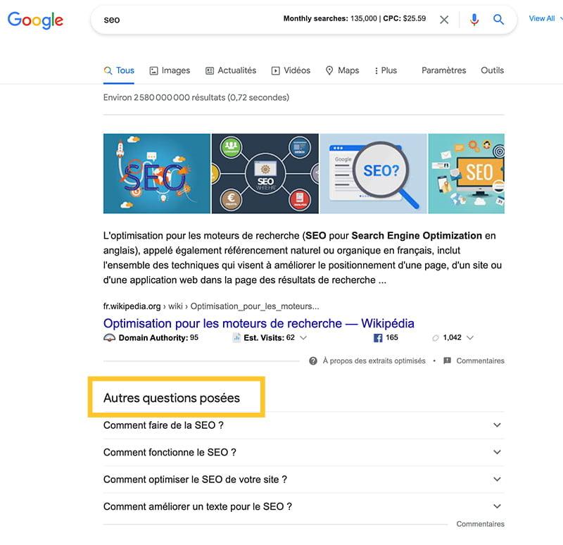 Autres questions posées de Google, suggestions pour trouver des idées de contenu