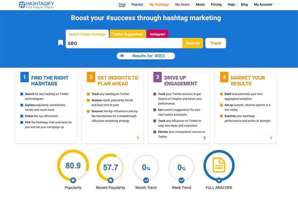 hashtagify, pour trouver les bons hashtags pour accompagner vos posts